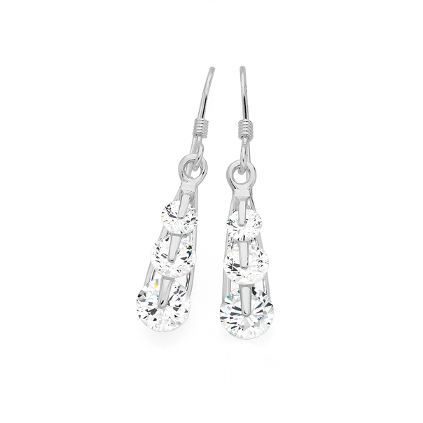 Silver Tapered Three CZ Drop Earrings