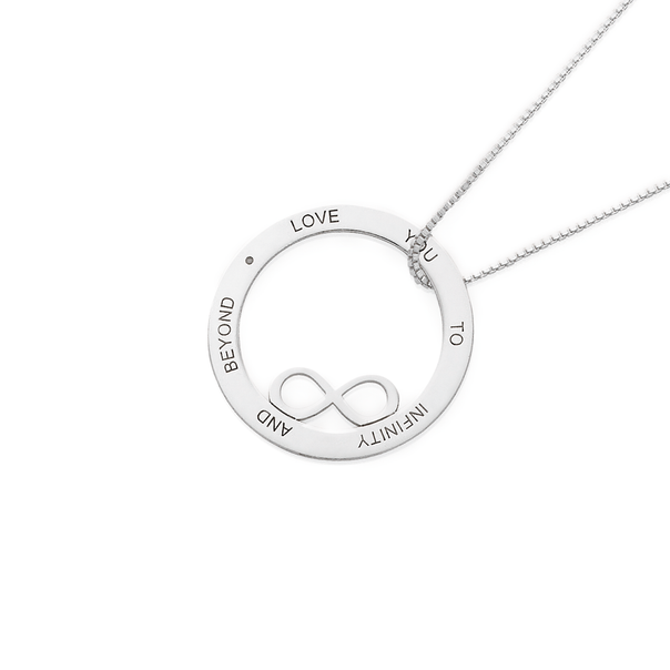 Silver To Infinity & Beyond Circle Pendant- I Love You To Infinity & Beyond