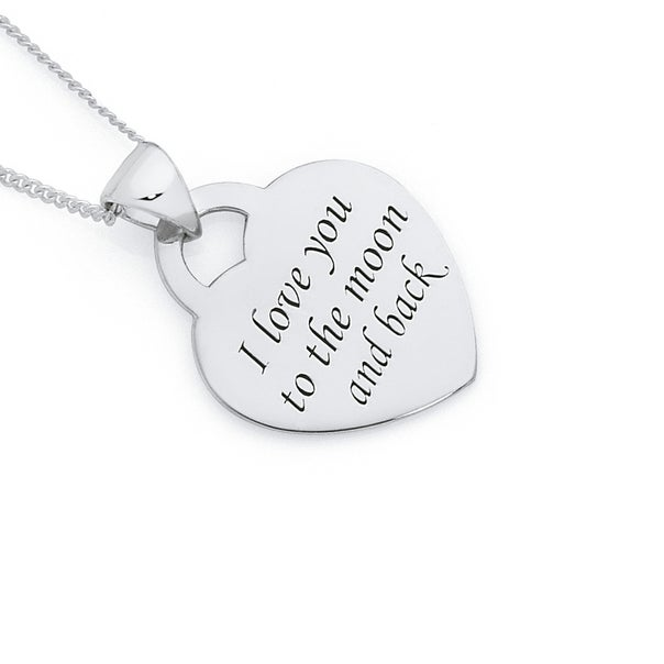 Silver 'To The Moon & Back' Heart Disc Pendant