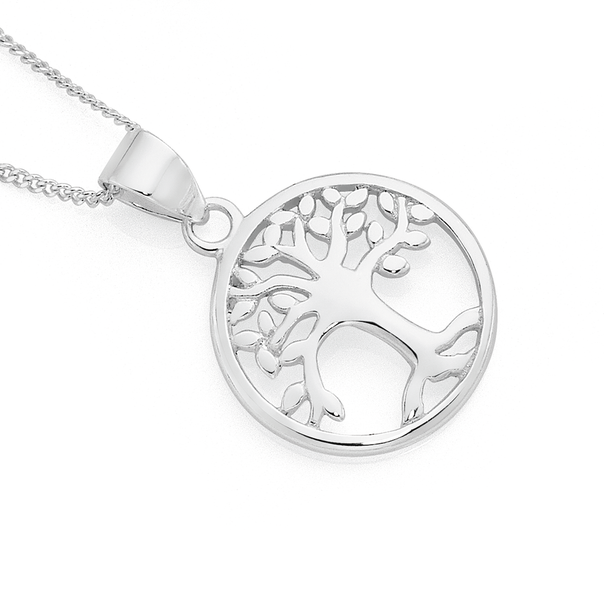 Silver Tree Of Life In Circle Pendant