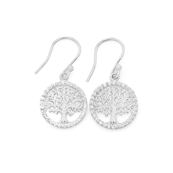 Silver Tree Of Life In CZ Circle Drop Earrings