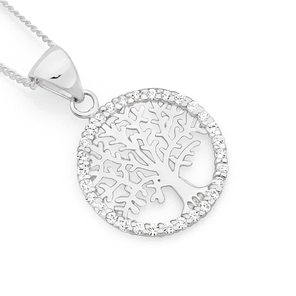 Silver Tree Of Life In CZ Circle Pendant