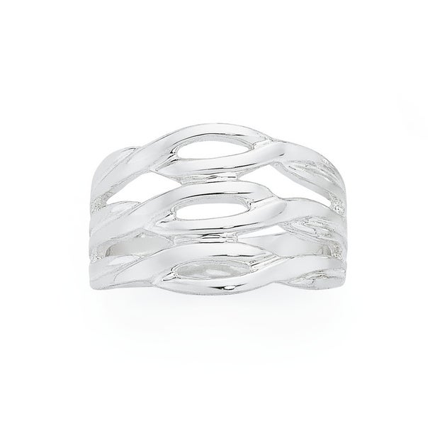 Silver Triple Crossover Ring
