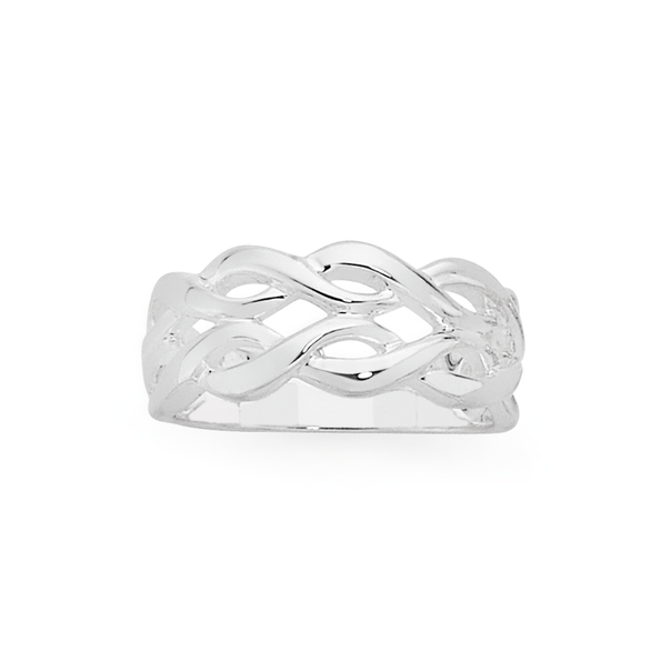 Silver Two Row Entwined Loop Ring Size O
