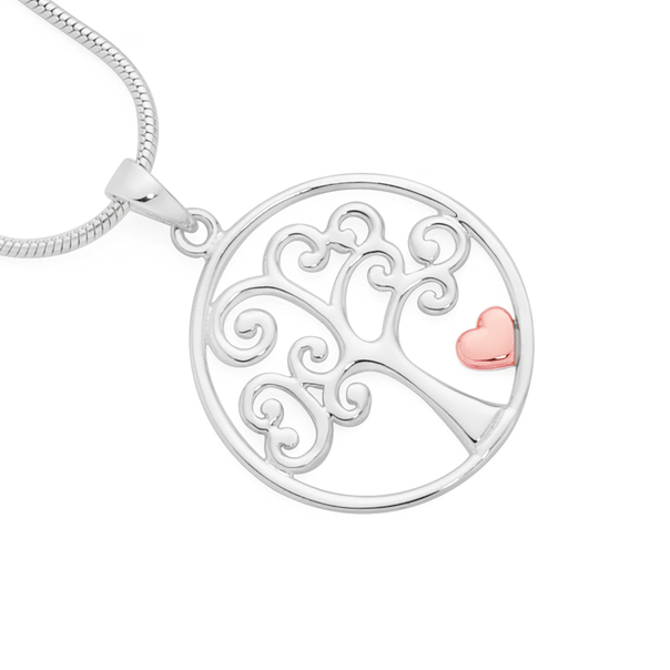 Silver Two Tone Tree Of Life Pendant