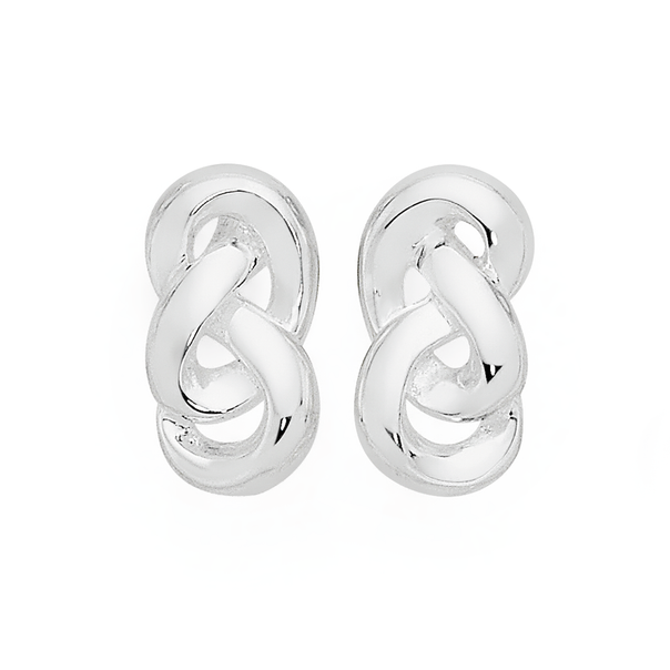 Silver Urban City Knotted Link Stud Earrings