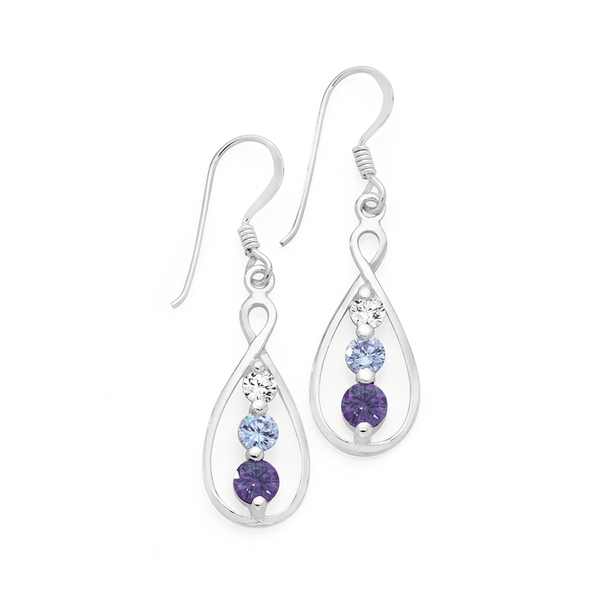 Silver White Lavender & Purple CZ Loop Drop Earrings