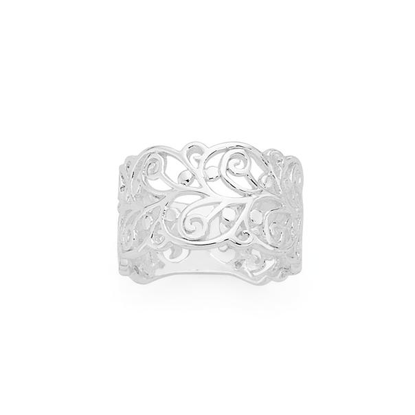 Silver Wide Swirl Filigree Ring