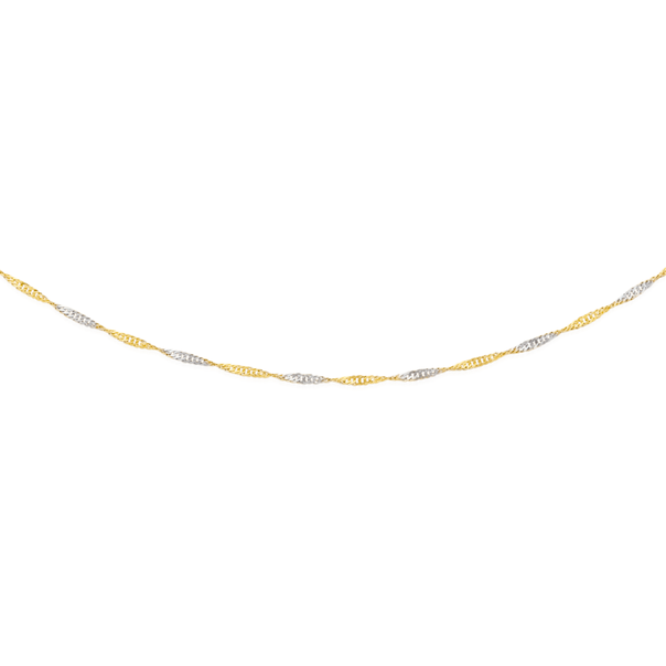 Solid 9ct Two Tone 45cm Singapore Chain