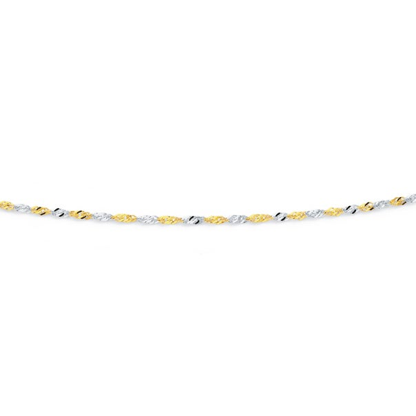 Solid 9ct Two Tone 50cm Singapore Chain