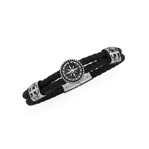 Stainless Steel Nautical Compass Leather Bracelet