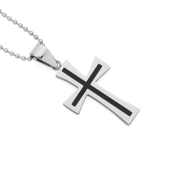 Steel Black Centre Flare Cross Pendant