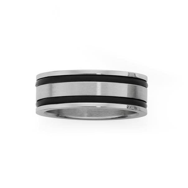 Steel Double Black Neoprene Ring