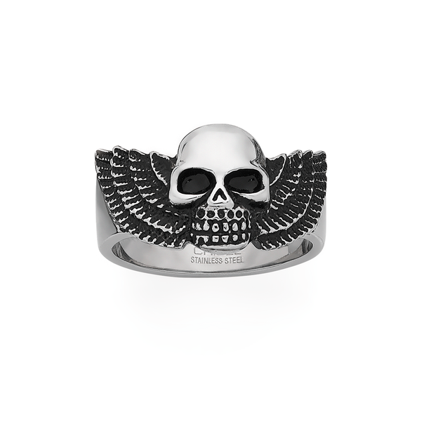 Steel Fearless Skull With Wings Ring