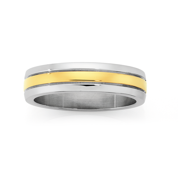 Steel & Gold Plate Lined Gents Ring