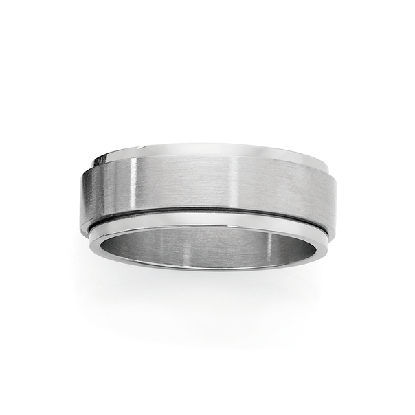 Steel Guys Matte & Polish Spinner Ring