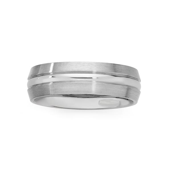 Steel Matte Centre Ridge Ring Size