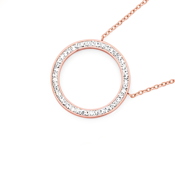 Steel Rose Plate Crystal Circle Necklace