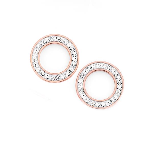 Steel Rose Plate Crystal Circle Stud Earrings