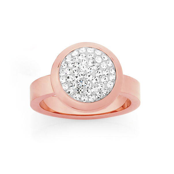 Steel Rose Plate Round Crystal Ring