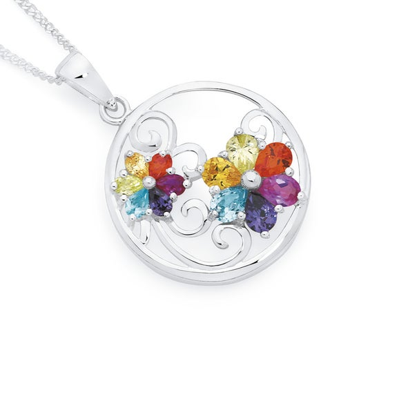 Sterling Silver Rainbow Cubic Zirconia Two Flowers In Circle Pendant
